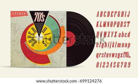 70s Music Mix Super Hits Vintage Retro Font Fashion Graphic Background Style