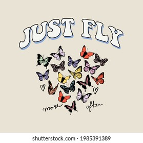 70s retro groovy hippie slogan print with vintage butterfly for girls and womens - kids tee t shirt or sticker - Vector