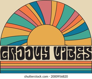 70s retro groovy vibes slogan with hippie rainbow sunshine for tee t shirt or poster sticker - Vector