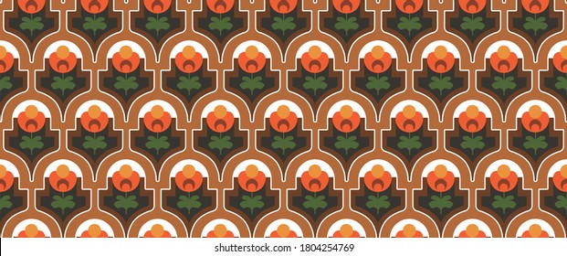 70's retro seamless pattern material vector illustration