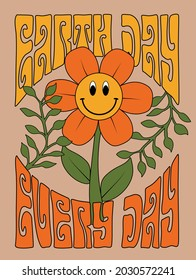 70s retro smiling daisy flower illustration print with inspirational slogan for girl - kids graphic tee t shirt or sticker - Vector
