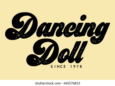 70s soul, dancing doll text in vector.
