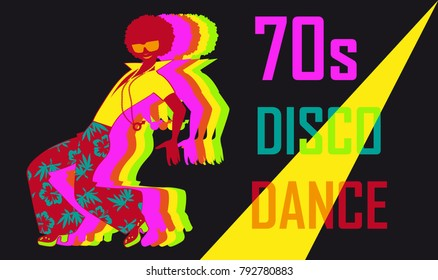 70s style disco dance poster with a dancing stylish guy, EPS 8 vector illustration
