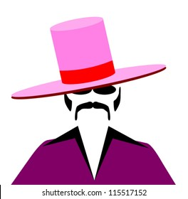 70's style pimp with large hat and purple suit
