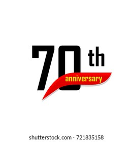 70th Anniversary abstract vector logo. Seventy Happy birthday day icon. Black numbers witth red boomerang shape with yellow text 70 years.