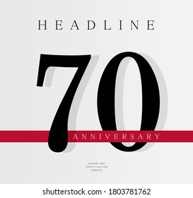 70th Anniversary banner template, journal cover design template, seventieth jubilee release, business birthday poster, vector illustration