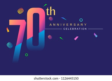 70th anniversary celebration with colorful design, modern style with ribbon and colorful confetti isolated on dark background, for birthday celebration