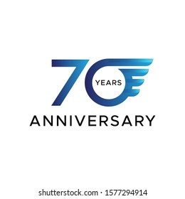70th anniversary circle wings vector blue color