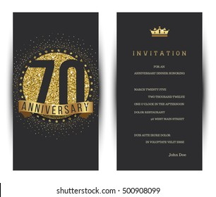 70th anniversary decorated greeting card template.