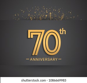 70th anniversary design for company celebration event with golden multiple line and confetti isolated on dark background