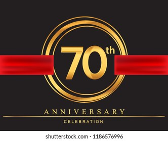 70th anniversary design logotype golden color with ring and red ribbon for anniversary celebration, elegant design.