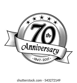 70th Anniversary design template. Vector and illustration.