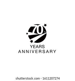 70th anniversary emblem. Seventieth years anniversary celebration symbol