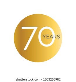 70th Anniversary gold banner template, seventieth jubilee labels, business birthday logo, vector illustration