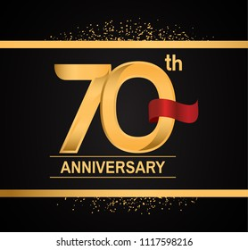 70th anniversary golden design with red ribbon and glitter isolated on black background for celebration