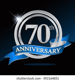 70th anniversary logo with blue ribbon and silver ring, vector template for birthday celebration.