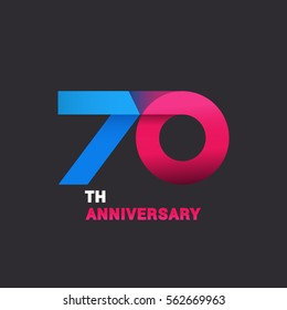 70th Anniversary  Logo Celebration, Blue and Pink Flat Design Isolated on Black Background