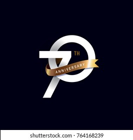 70th anniversary logo with gold ribbon. template design for web, game ,Creative poster, booklet, leaflet, flyer, magazine, invitation card