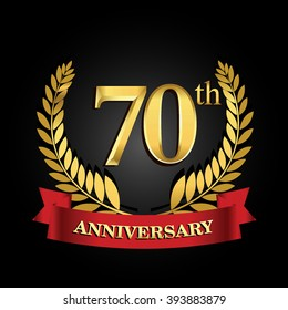 70th anniversary logo with red ribbon and golden laurel wreath, vector design for birthday celebration.