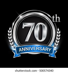 70th anniversary logo with silver ring combination blue ribbon. Vector template for birthday celebration, party, wedding, invitation and greeting card