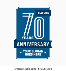 70th anniversary logo. Vector and illustration.