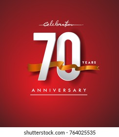 70th anniversary logotype with golden ribbon isolated on red elegance background, vector design for birthday celebration, greeting card and invitation card.