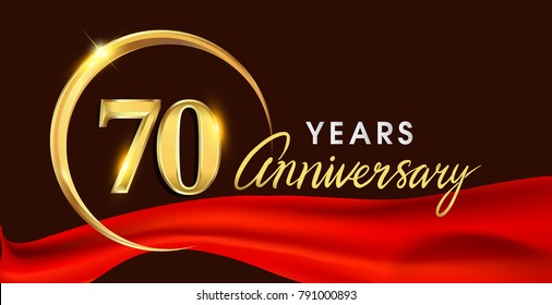 70th anniversary logotype with golden ring isolated on red ribbon elegant background, vector design for birthday celebration, greeting card and invitation card.