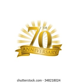 70th anniversary ribbon logo with golden rays of light