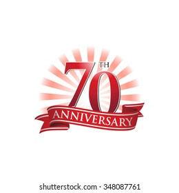 70th anniversary ribbon logo with red rays of light