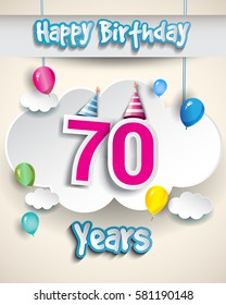 70th Birthday Celebration Design With Clouds And Balloons Greeting Card Invitation For