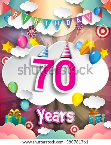 70th Birthday Celebration Greeting Card Design With Clouds And Balloons Vector Elements For The