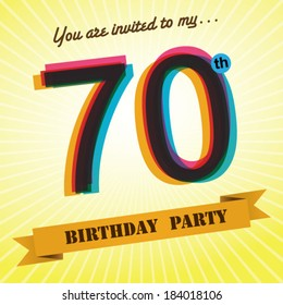 70th Birthday Party Invite Template Design In Retro Style