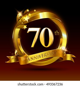 70th golden anniversary logo, 70 years anniversary celebration with ring and ribbon.