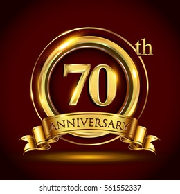 70th golden anniversary logo, seventy years birthday celebration with gold ring and golden ribbon.