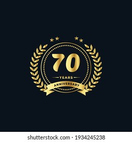 70th golden anniversary logo, with shiny ring and golden ribbon, laurel wreath isolated on navy blue background