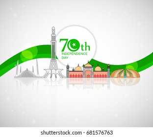 70th Pakistan Independence Day Background with famous landmarks
