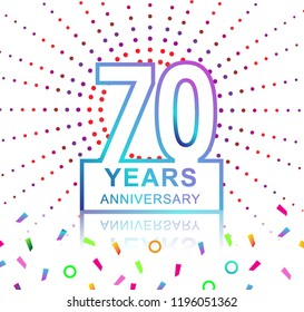 70th years anniversary celebration with colorful design with fireworks  and colorful confetti isolated on white background. for birthday celebration.