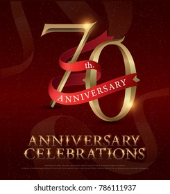 70th years anniversary celebration golden logo with red ribbon on red background. vector illustrator