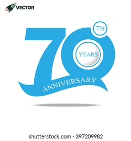 70th years anniversary label in  blue for celebration of company