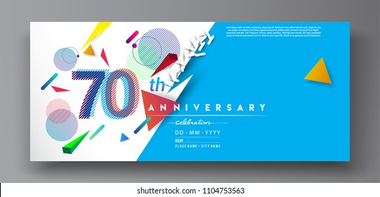 70th years anniversary logo, vector design birthday celebration with colorful geometric background and circles shape.