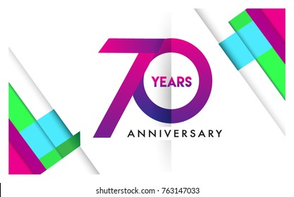 70th years anniversary logo, vector design birthday celebration with colorful geometric isolated on white background.