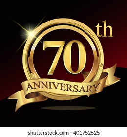 70th years golden anniversary logo celebration with ring and ribbon. Vector template elements for your birthday party.