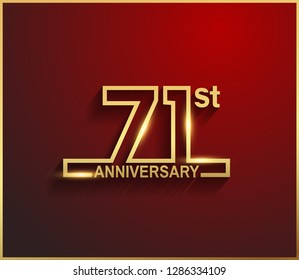 71 anniversary line style golden color for celebration