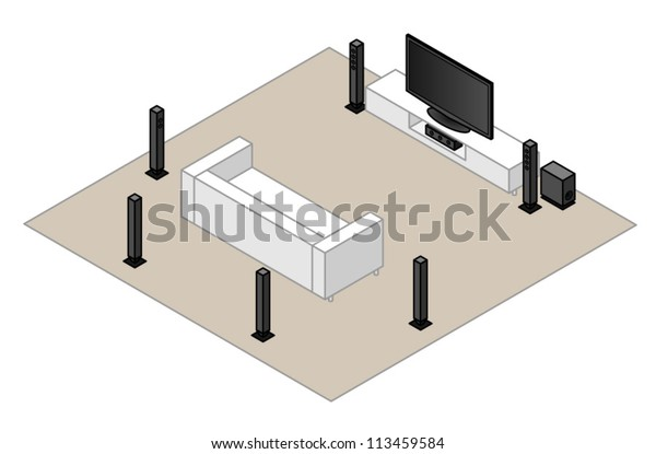 A 7.1 home theatre setup.With a subwoofer, centre speaker,2 front speakers, 2 side speakers and 2 back speakers.