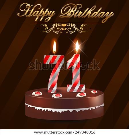 71 Year Happy Birthday Card Cake Stock Vector Royalty