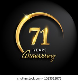 71 years anniversary celebration. Anniversary logo with ring and elegance golden color isolated on black background, vector design for celebration, invitation card, and greeting card