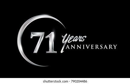 71 years anniversary celebration. Anniversary logo with silver ring elegant design isolated on black background, vector design for celebration, invitation card, and greeting card.