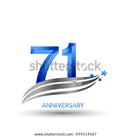 71 Years Anniversary Celebration Logo Design Stock Vector Royalty