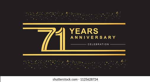 71 years anniversary celebration logotype with golden multiple line and confetti golden color isolated on black background, vector design for greeting card and invitation card