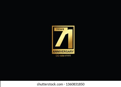 71 years anniversary celebration logotype. anniversary logo with golden and Spark light white color isolated on black background, vector design for celebration, invitation and greeting card-Vector